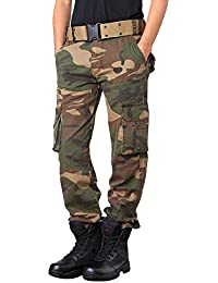Homme Adultes Combat Pantalons Treillis Militaire Cargo Armee Pantalon de Travail Multi Poches Coton (Sans Ceinture)