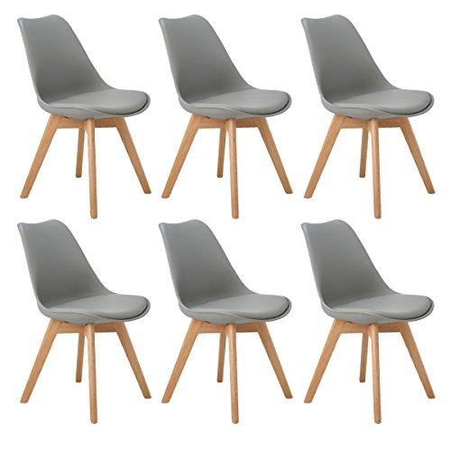 DORAFAIR Stuhl Esszimmerstühle Küchenstühle 6 x Retro Design Gepolsterter lStuhl Küchenstuhl mit Massivholz Eiche Bein,Grau -