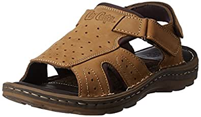 Lee Cooper Men's Camel Leather Sandals and Floaters - 7 UK/India (41 EU)