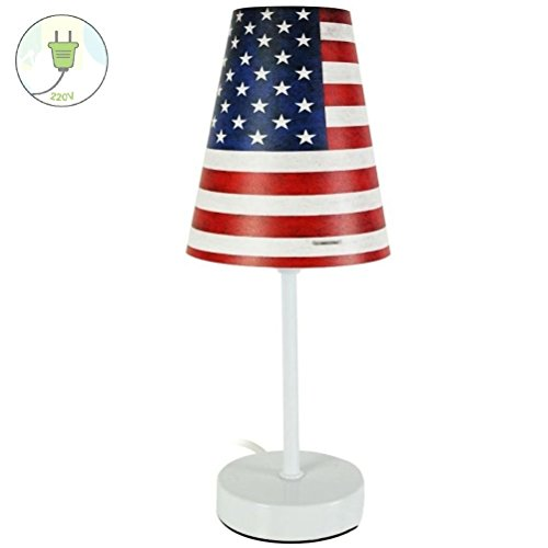New York USA - Lampada con bandiera americana, altezza 32 cm