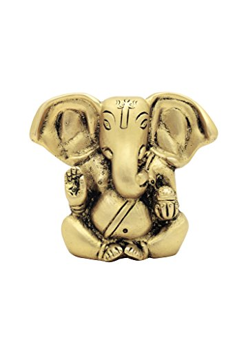 cosmo-craftvilla Cute Matt Gold Appu Ganesh Idol Small Statue Showpiece Handmade (H: 2.75 Inches W: 350gms)  available at amazon for Rs.545