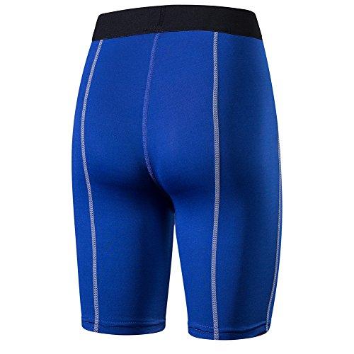Bmeigo Donna Yoga Workout Cropped Sport Pantaloni Capri Tights Jogging con Funzione Quick Dry Blue