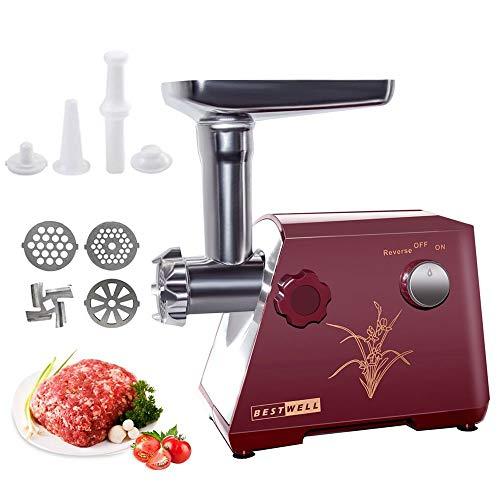 Elektrischer Fleischwolf, Edelstahl Fleischwolf & Wurstfüller, 3 verschiedene Schneidplatten,Multifunktions Küchenmaschine Fleisch- Rot