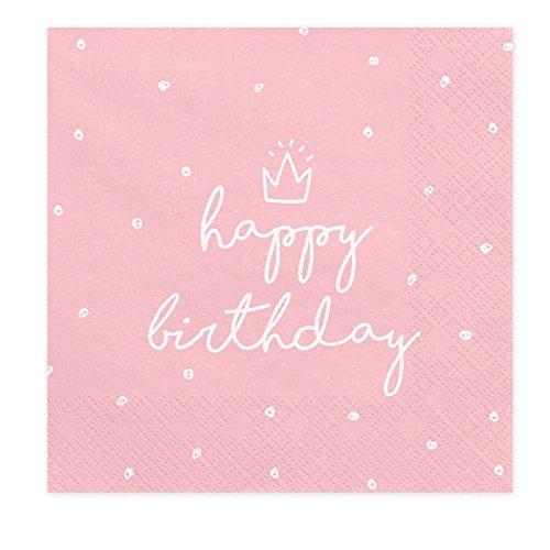 Servietten rosa Happy Birthday, 33 x 33 cm, 1Pack(20Stück) SP33-15-081J