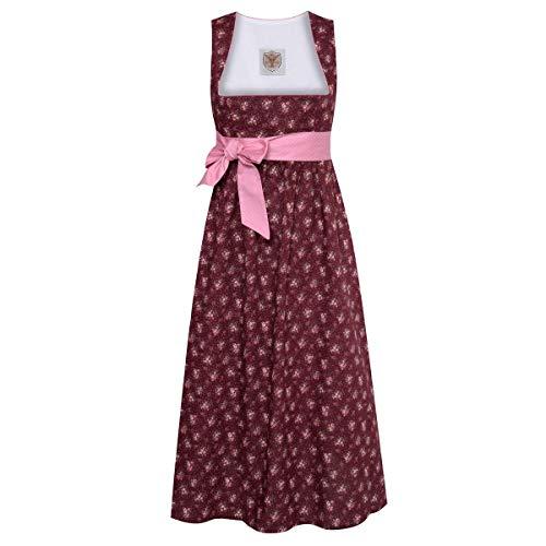 Schwangerschaftsdirndl Hannelore in Weinrot mit Blumen und rosa Schleife