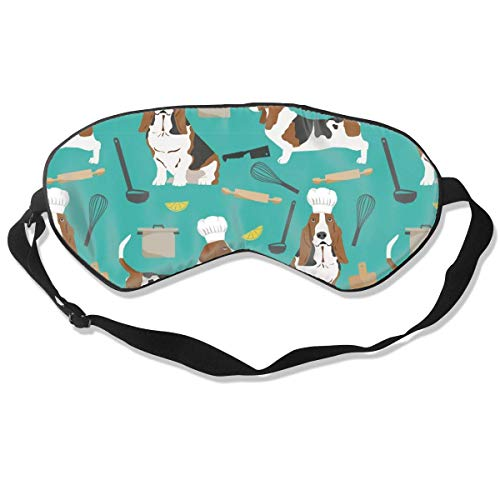 Basset Hounds Chefs Themed Cooking Dog Breed Turqu 100% Silk Sleep Mask Comfortable Non-Toxic, Odorless and Harmless,Soft Blindfold Eye Mask Good for Travel and Sleep -