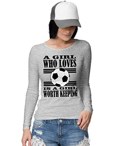 American Womens Light T-shirt (A Girl Who Loves Football is Worth Keeping Football Slogan Damen Langarmshirt M)