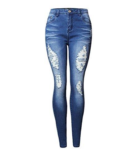 WanYang Frauen Zerrissene Denim Jeans Löcher Zerrissene Hose Jeans Damen Hose Gerissen Skinny Leggings
