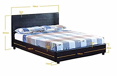 "4FT 6"" Double Faux Leather Bed Frame in"