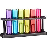 Relaxdays Reagenzgläser Shotgläser, 6 witzige Schnapsgläser mit Ständer, 4 cl, Test Tubes für Shots, Kunststoff, bunt