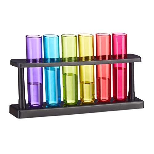 Relaxdays Reagenzgläser Shotgläser, 6 witzige Schnapsgläser mit Ständer, 4 cl, Test Tubes für Shots, Kunststoff, Bunt -