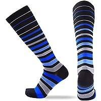 Ruiting 1 Paar Unisex Kompressionssocken Sports Anti Rutsch Lange Socken Bequeme Stretch Strümpfe Blue & graue Streifen Sport-Produkte