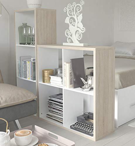 Miroytengo Pack 2 librerías Cubo Color Blanco y Roble estanterías modulares Modernas 4 y 3 Huecos