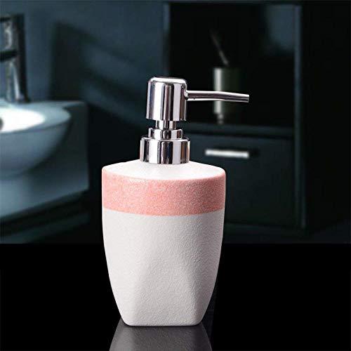 Rosa Lotion Seife (GZ Geschenk Lotion Flasche Keramik Hochwertigen Scrub Kreative Händedesinfektionsmittel Flasche Seife Flasche Emulsion Flasche Badezimmer Abfüllung,Rosa,430ml)