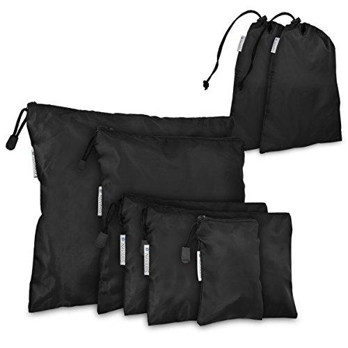 Navaris set de 7 organizadores para maleta - 7 bolsas para almacenaje - para ropa zapatos lavandería - sacos de embalaje para viajes en negro