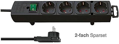 2-fach Sparset: Brennenstuhl Comfort-Line Plus, Steckdosenleiste 4-fach (mit Flachstecker, Schalter, 2m Kabel und extra breite Abstände der Steckdosen) Farbe: schwarz