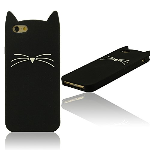 "Copertura Protettiva Shockproof per iPhone 6 Plus 6S Plus 5.5"", iPhone 6 Plus Custodia, iPhone 6S Plus Custodia, Silicone Morbido Case, Policromo Gatto Aspetto (iPhone 6 6S 4.7"" non adatto ) Nero"