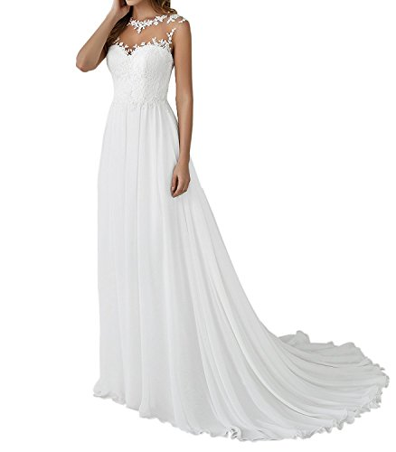 YASIOU Hochzeitskleid Elegant Damen Lang Weiß Vintage Spitze Chiffon A Linie Hochzeitskleider...