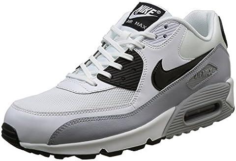 Nike Wmns Air Max 90 Essential, Baskets Femme, Blanc (Blanc/Noir-Wolf Grey), 40.5