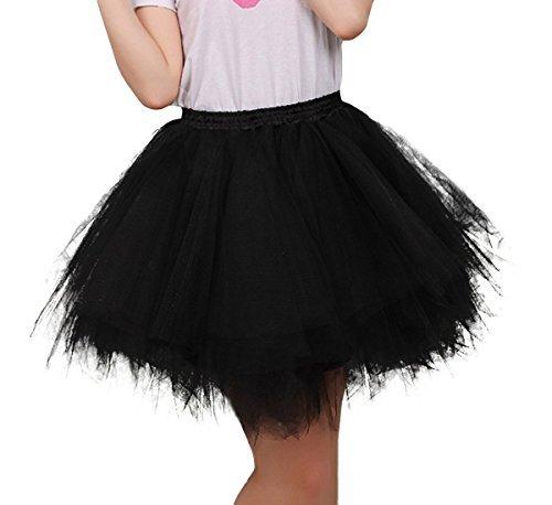 FEOYA Jupe Courte Bal Ballet Tulle en dentelle Costume Tutu Femme Jupon Princesse Bouffée Plissé Mini-jupe pour Danse Cosplay Déguisement Elastique Soirée ,Noir,Taille Unique(Tour de taille:60-90cm)