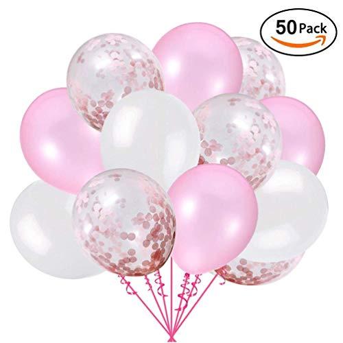 uftballons Rosa Konfetti Helium Ballons Rosa Weiß für Hochzeit Mädchen Kinder Geburtstag Party Deko (Pink + Weiß) 30cm ()