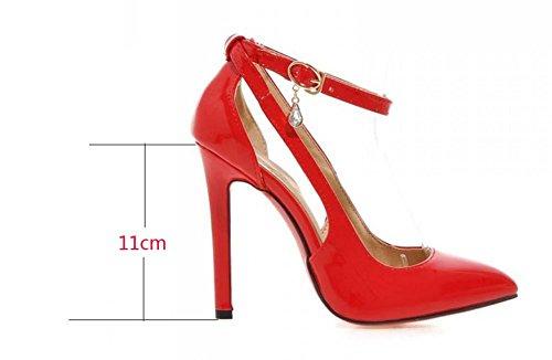 NobS Wpmen Block Toe Talons Hauts Talon Pointu Sandales Stiletto Talons Hauts Chaussures De Mariage Chaussures De Dressage Red