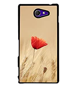 Orange Flower 2D Hard Polycarbonate Designer Back Case Cover for Sony Xperia M2 Dual :: Sony Xperia M2 Dual D2302