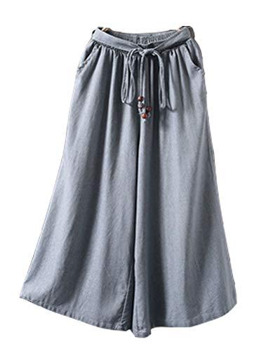 Mallimoda Damen Leinenhose Weites Bein Hose Elastische Taille Hosenrock mit Hüftgurt Art 1-Blau Grau -
