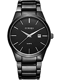 e06b3b143b2 CURREN Mens Watches Classic Quartz wristwatch Business Style Stainless  Steel Chronograph Wristwatch with…
