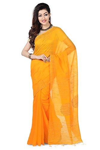 Wooden Tant Yellow Ball Ghicha Handloom Cotton Silk Saree With Hand Weaved...