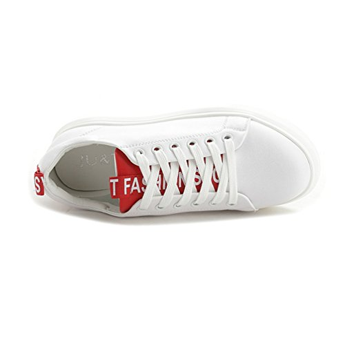 Sportschuhe Damenschuhe Schnürsenkel Sneakers Low Top Freizeitschuhe Weiß&Rot