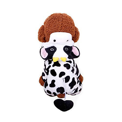 RUNFON 1Set Pet Coat Kostüm Cute Hund Pyjama Kleidung Coral Fleece Pet Outfit Dog Supplies Herbst und Winter Welpe Hoodie Größe M (Kuh)