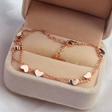 findout ladies 14K rose gold plated titanium steel wire perfect seven hearts anklet//Bracelets for women girls, f1235