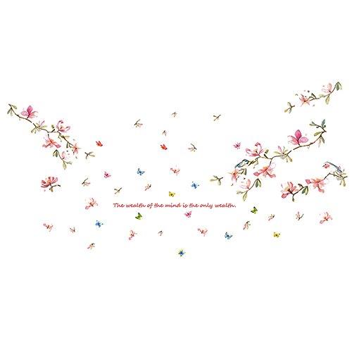 (Dtuta DIY Romantische ÄSthetische Pflanze PfirsichblüTe Bambus Abnehmbare Home Aufkleber Wandbild KüNstler Residenz Dekoration)