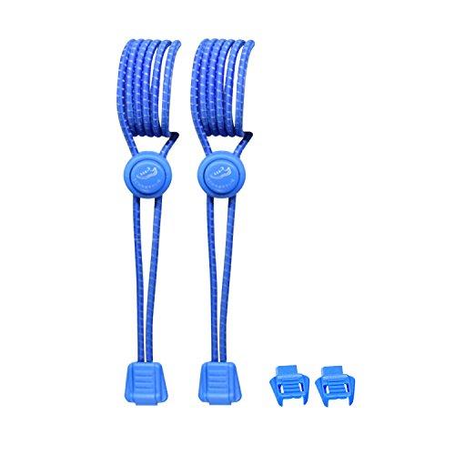 SCHNÜRRLIE Elastische Sport Schnürsenkel - Flexible Reflektierende Bänder - Schnürsystem Blau