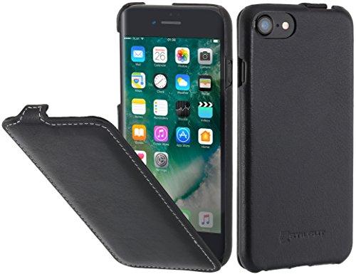 StilGut Leder-Hülle kompatibel mit iPhone 8/iPhone 7 vertikales Flip-Case, Schwarz Nappa -