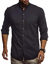 Leif Nelson Herren Leinenhemd Hemd Leinen Kurzarm T-Shirt Oversize Stehkragen Männer Freizeithemd Sommerhemd Regular Fit Jungen Basic Shirt Kurzarmshirt Freizeit Sweater LN3860 Schwarz Small