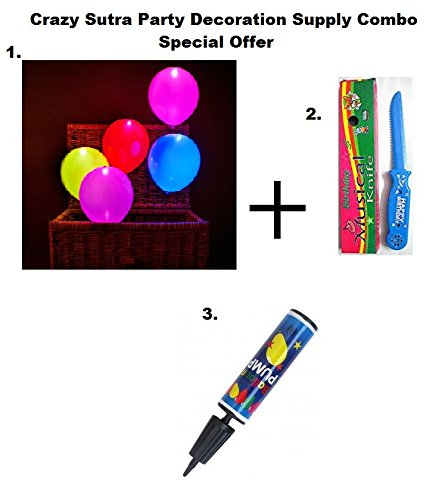 Crazy Sutra Party Decoration Supply Combo Special Offer: Pack Of 10 Premium Quality Led Balloons + Happy Birthday Musical Knife + Handy Air Balloon Pump/ Balloon Inflator