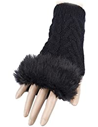 Mitaines Gants Fashion Wear - Fausse Fourrure - Coloris Noir - Tendance Collection Automne-Hiver Femme