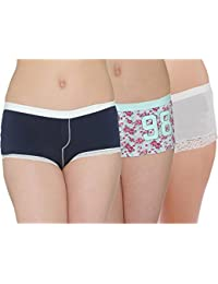 Pepperika Sexy Cotton Lycra Boy Shorts Boy Leg Panties (Pack of 3)