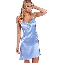 c5f6cc5dc7fe44 Jadee Damen Seiden Nachthemd Negligee kurz 100% Seidensatin in 3 Farben