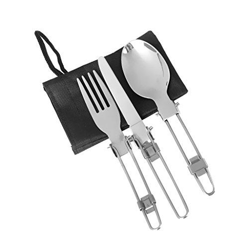 Toygogo 1 Set Outdoor Campingbesteck Metall Reisebesteck mit Bestecktasche, Löffel, Gabel und Messer