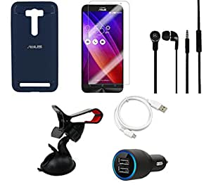 NIROSHA Tempered Glass Screen Guard Cover Case Car Charger Headphone USB Cable Mobile Holder for ASUS Zenfone Laser 2 ZE500KL - Combo