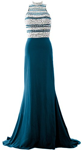 MACloth Women Crystal Beaded Mermaid Long Prom Dress Formal Evening Party Gown Teal