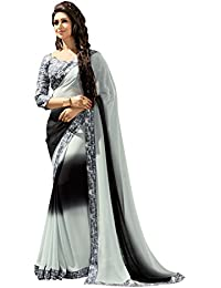 Craftsvilla Sarees Womens Black And Grey Georgette Embellished Party & Festival Wear Saree With Blouse Piece