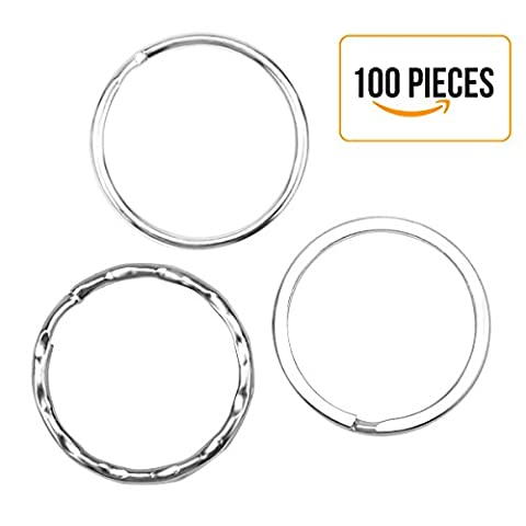 Trois différentes spécifications Silver Steel Round Edged Split Circular Keychain Ring Clips pour Keys Organisation, Arts & Crafts - 100 Packs
