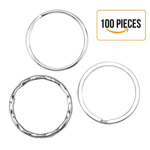 Drei verschiedene Spezifikation Silber Stahl Runde Edged Split Circular Schlüsselanhänger Ring Clips für Keys Organisation, Kunst & Handwerk - 100 Packs (Kinder Cool Handwerk Für)
