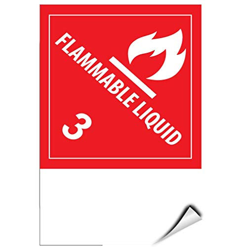 Label Decal Sticker Flammable Liquid 3 Hazard Sign Durability Self Adhesive Decal Uv Protected & Weatherproof (Liquid-label Flammable)