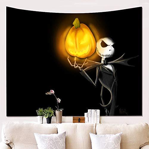 Tapestry Wall Hanging,Schreckliche Grim Reaper Und Kürbis Laterne,Gotische Hippie Psychedelischen Tod Spirituelle Wall Art Dekor Print Fabric, Große Dekorative Hängenden Tuch Für Schlafzimmer Wohn