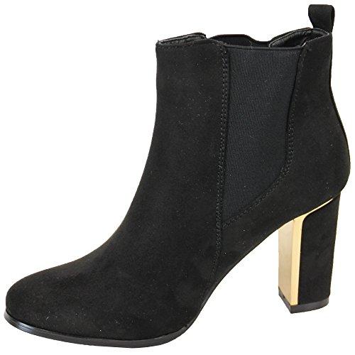 Damen Chelsea Stiefel Womens Kelsi Schuhe Wildleder-optik Blockabsatz Schlangen Effekt Party Schwarz - AM1536